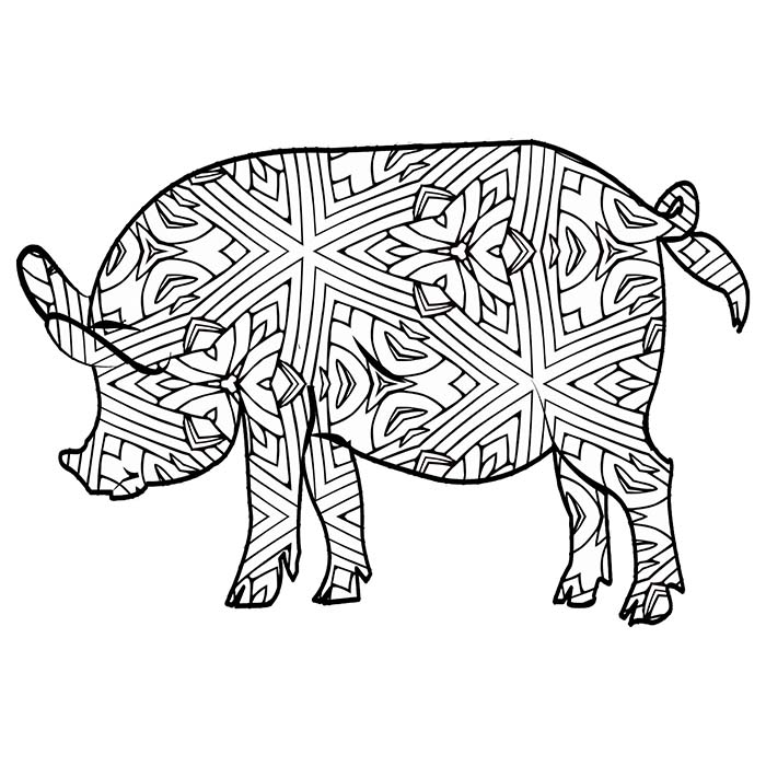 This geometric pig has lots of lines and shapes to color in.
