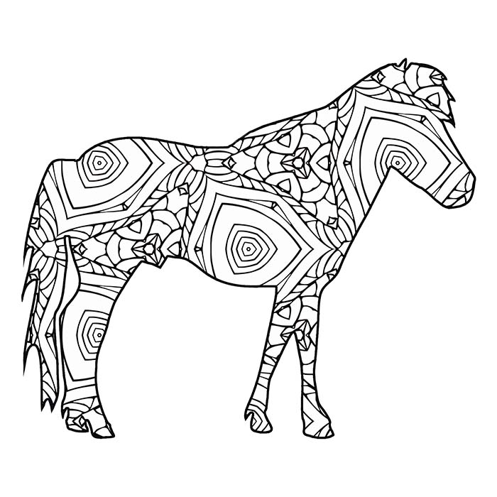 This printable pony graphic has shapes and lines great for coloring.