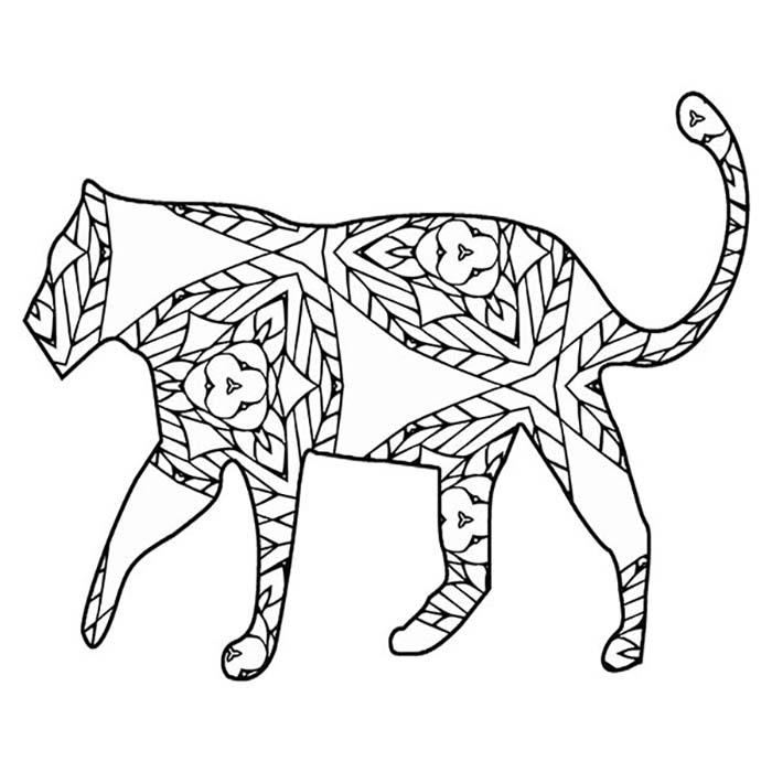 This printable tiger graphic has detail and geometric shapes.