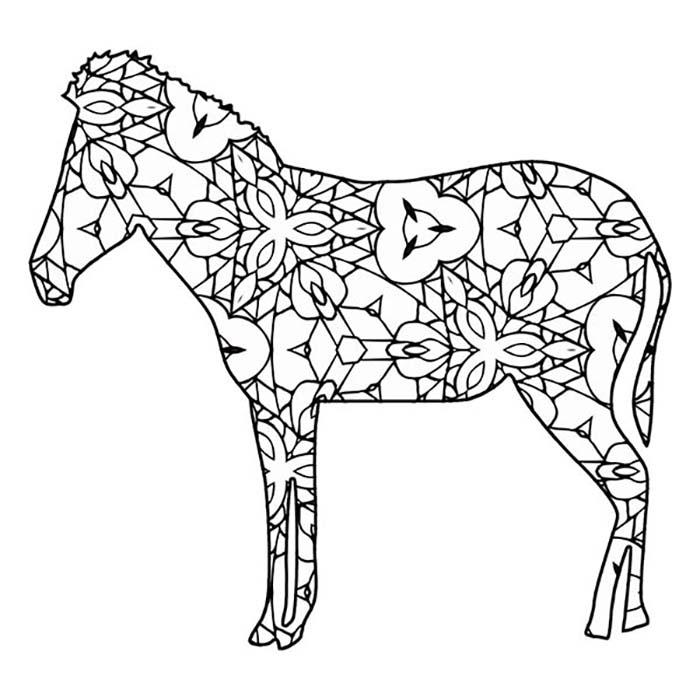 This detailed zebra graphic has lots of shapes and lines to color in.