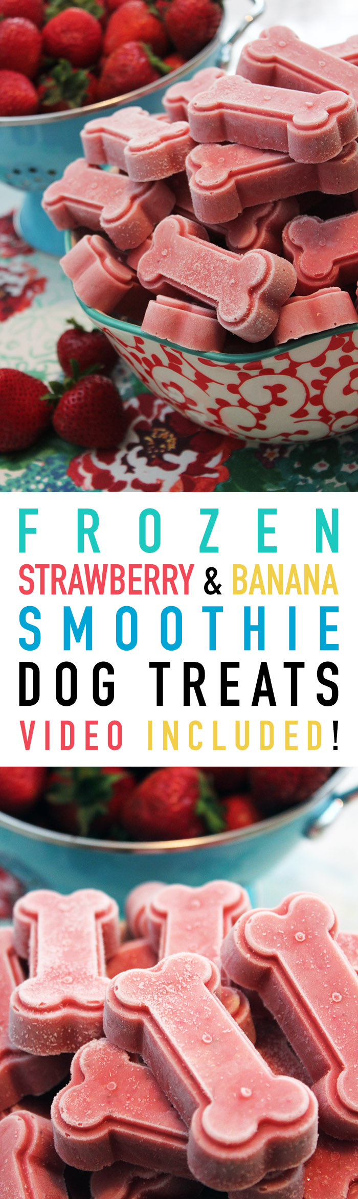 Homemade Frozen Strawberry  Banana Dog Treats from The Cottage Market