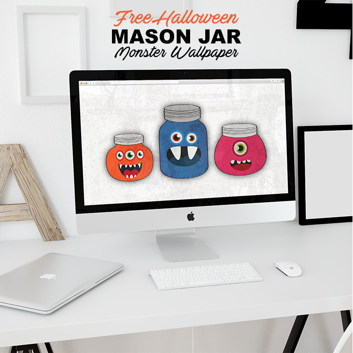 Free Halloween Mason Jar Monster Wallpaper /// Free Wallpaper