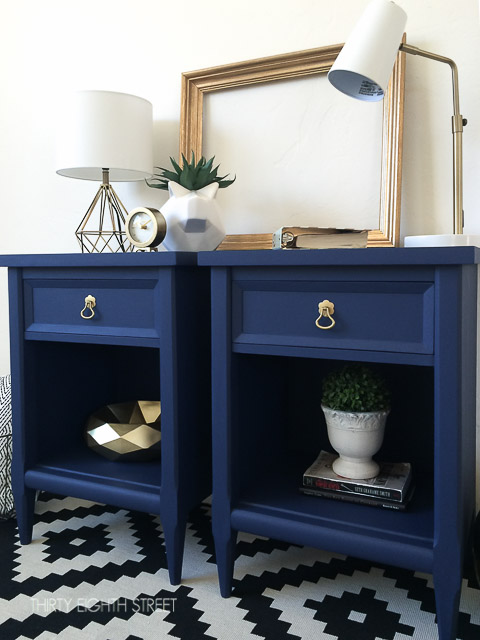 Blue Painted Nightstands With Country Chic Paint Midnight Sky (1 of 1)