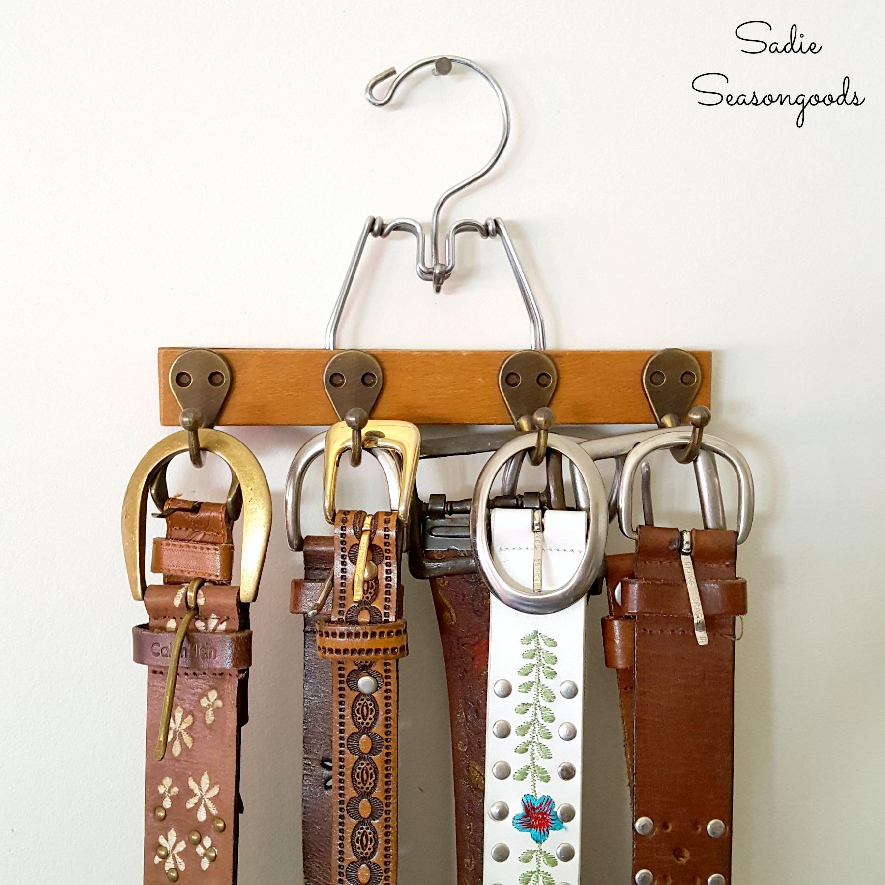 Vintage_trouser_pant_hanger_repurposed_upcycled_as_DIY_belt_hanger_organizer_by_Sadie_Seasongoods