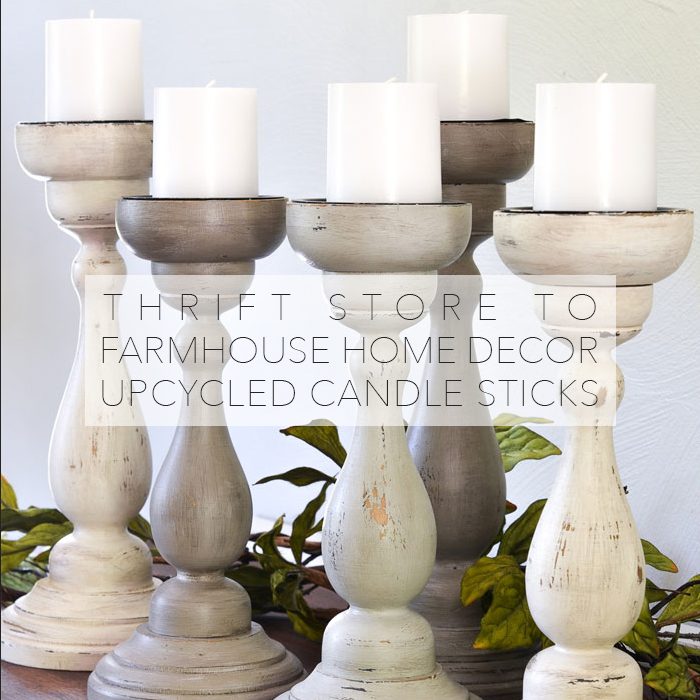 thrift store to farmhouse home decor diy upcycled candle sticks the cottage market