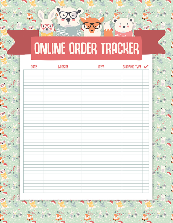 Track online gifts with this online order tracker page in this free christmas planner