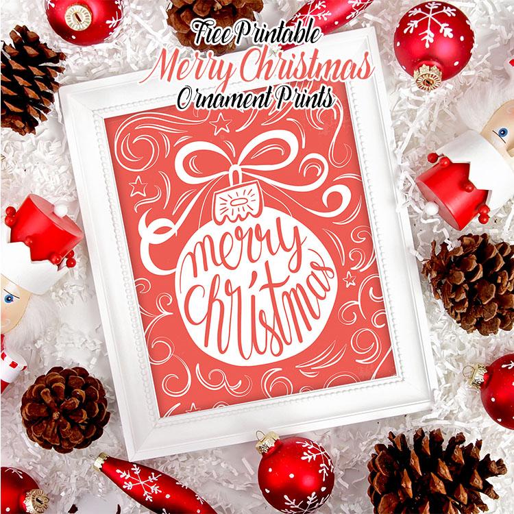 Free Printable Merry Christmas Ornament Prints The