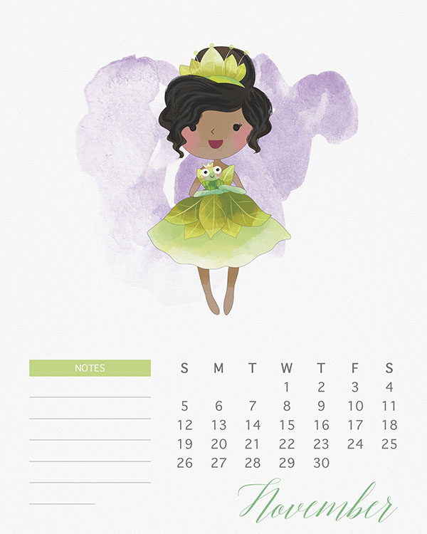 Free Printable 2017 Watercolor Princess Calendar - The Cottage Market