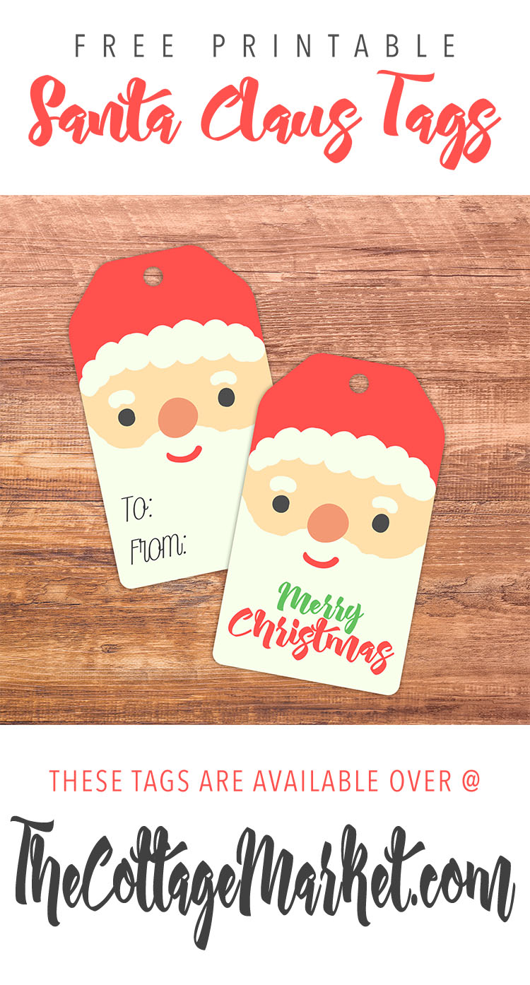 photo regarding Printable Pictures of Santa Claus titled Cost-free Printable Santa Claus Tags - The Cottage Market place