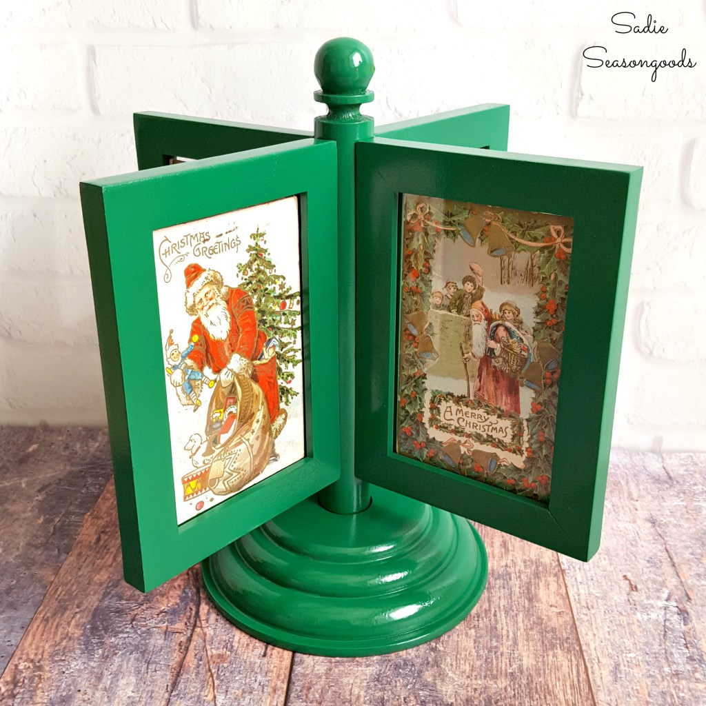 8_spinning_picture_frame_carousel_to_display_vintage_Christmas_postcards_holiday_decor_Sadie_Seasongoods