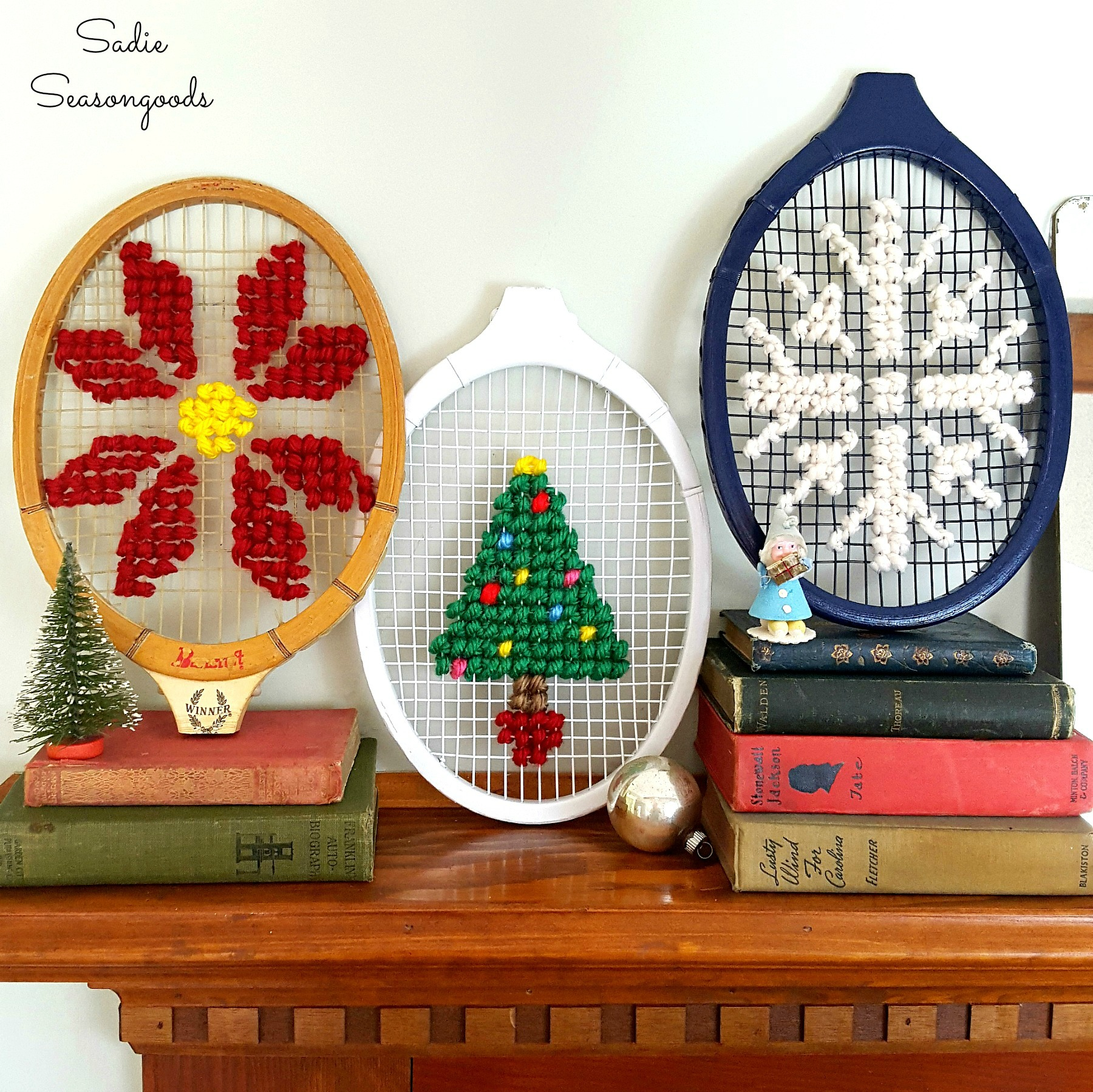Oversized_Christmas_Cross_Stitch_on_Vintage_Wooden_Tennis_Racket_Racquet_by_Sadie_Seasongoods