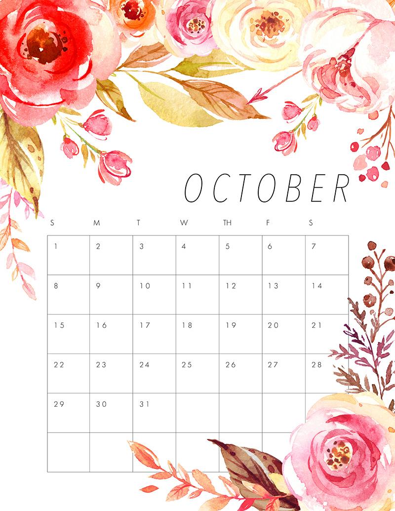 October Calendar Art : Free printable floral calendar the cottage market