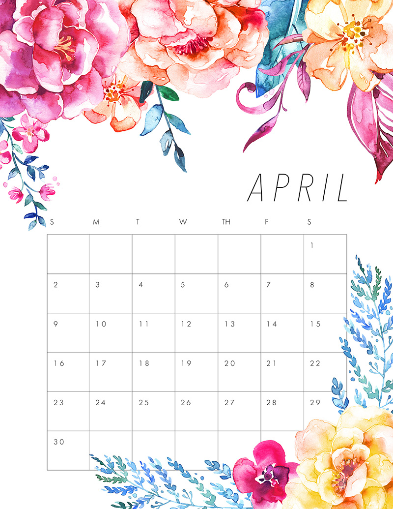 Free Printable 2017 Floral Calendar - The Cottage Market