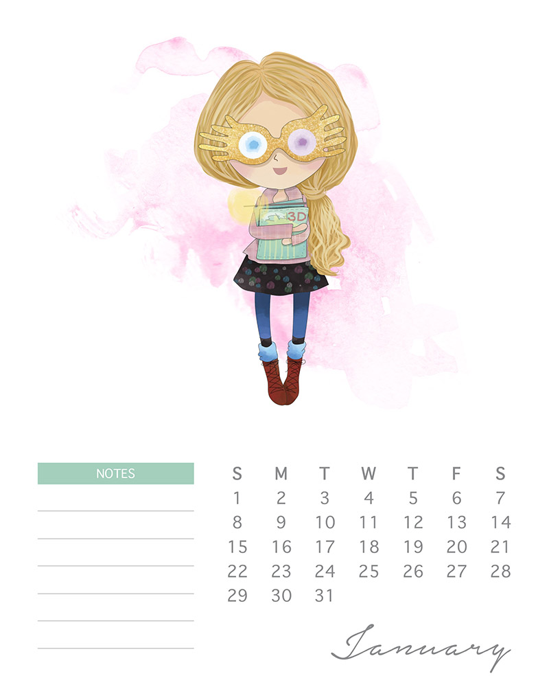 Luna Lovegood - Watercolor Harry Potter Calendar - January 2017