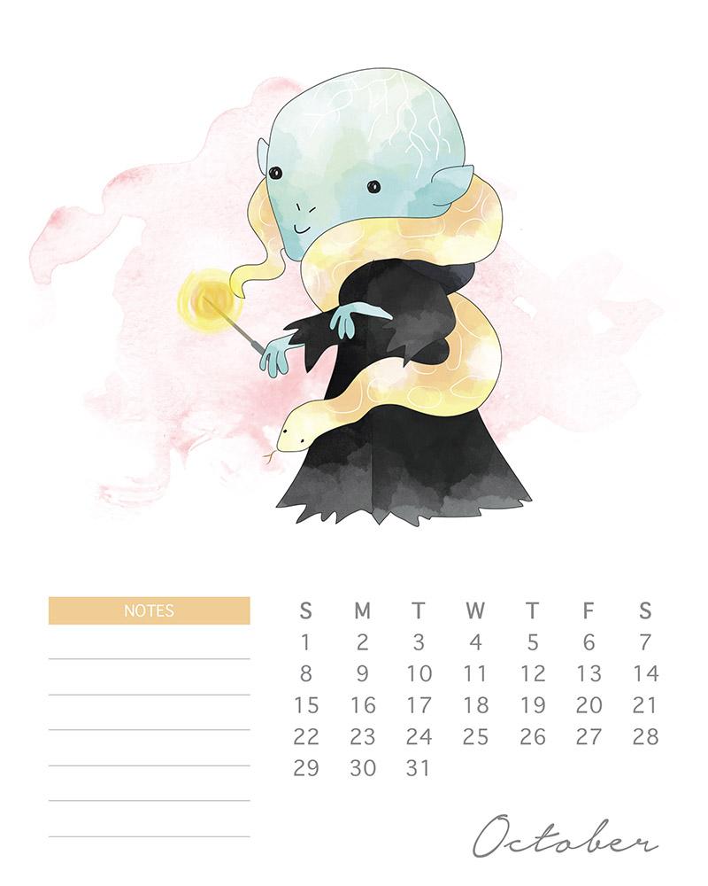 Voldemort - Harry Potter Watercolor Cartoon Calendar