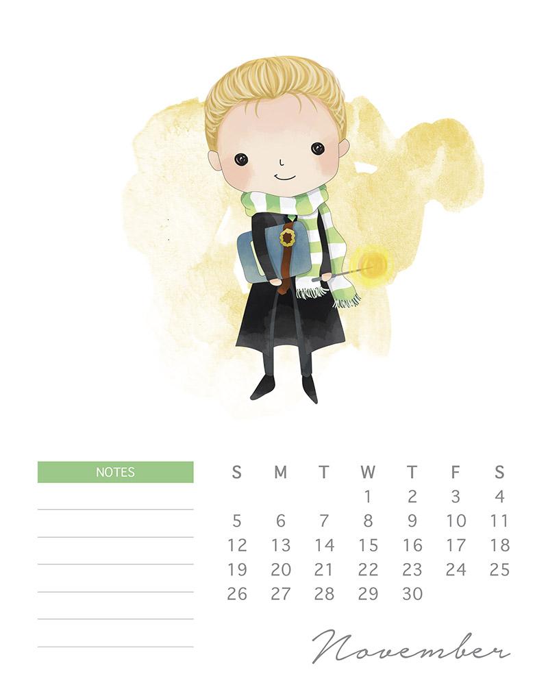 Malfoy - watercolor Harry Potter calendar - November