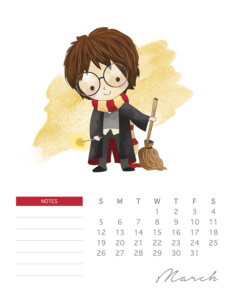 Harry Potter Watercolor cartoon - Free Harry Potter printable calendar - March 2017