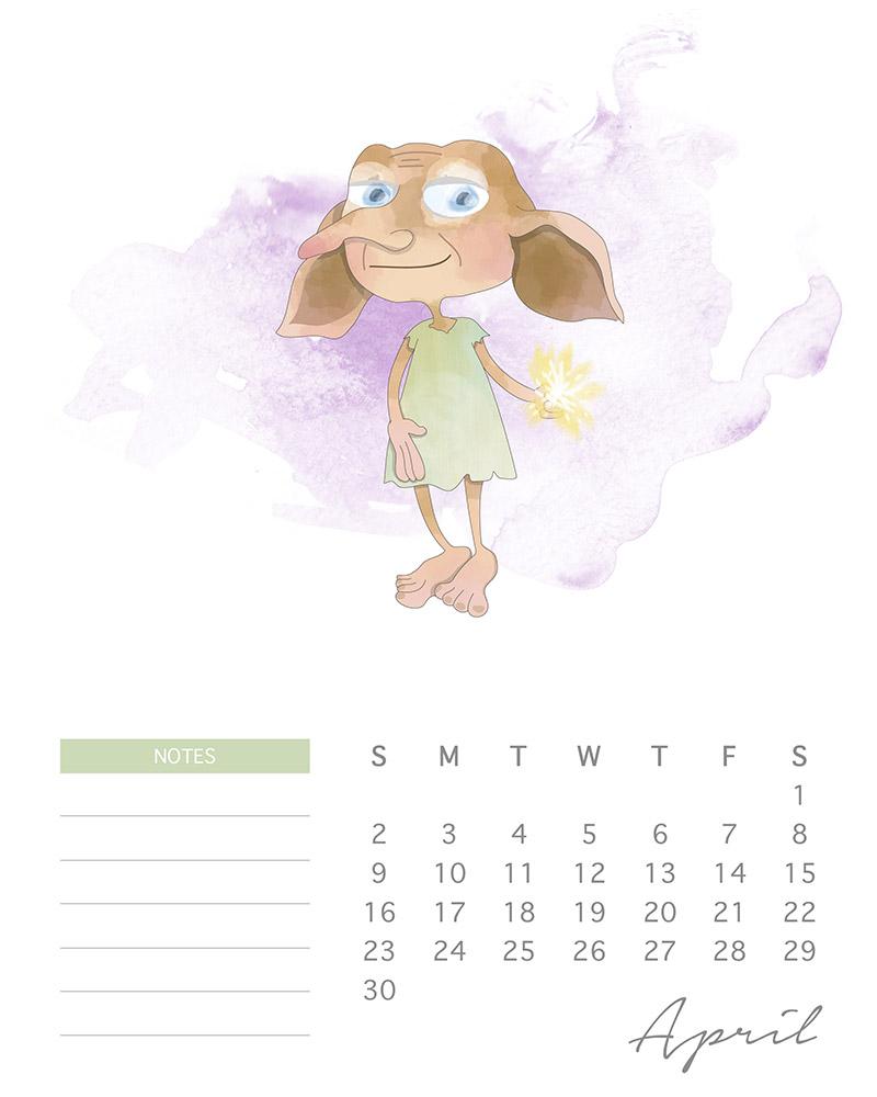 Dobby - Harry Potter Printable Calendar - April 2017