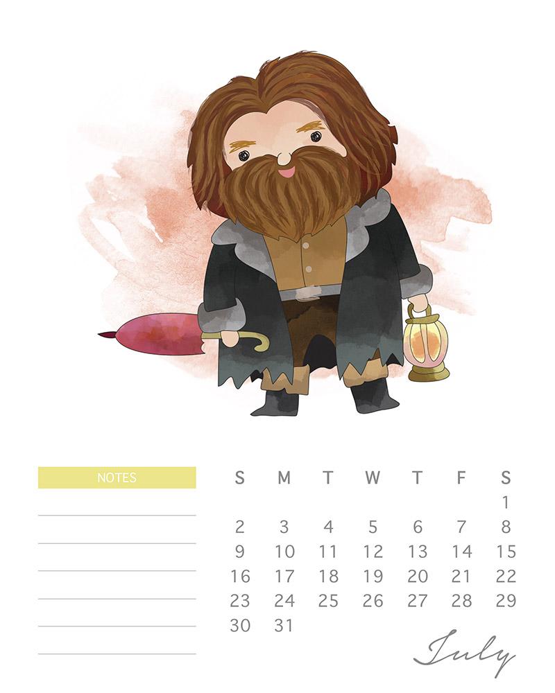 Hagrid - Watercolor Harry Potter calendar - July 2017