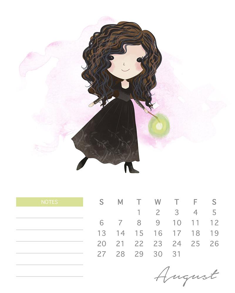 Bellatrix LeStrange - Harry Potter watercolor calendar - August 2017