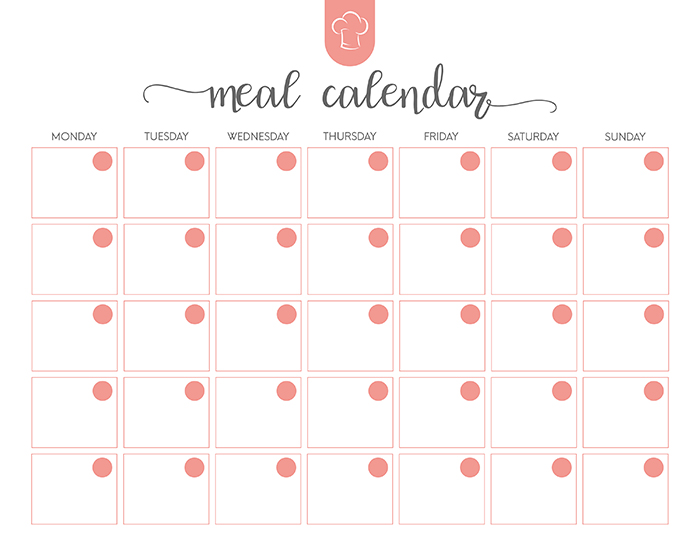 Free Printable Meal Planner Set The Cottage Market – Meal Calendar