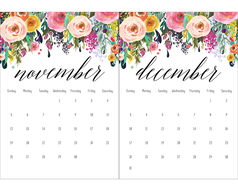 Free Printable 2017 Floral 5x7 Calendar - The Cottage Market