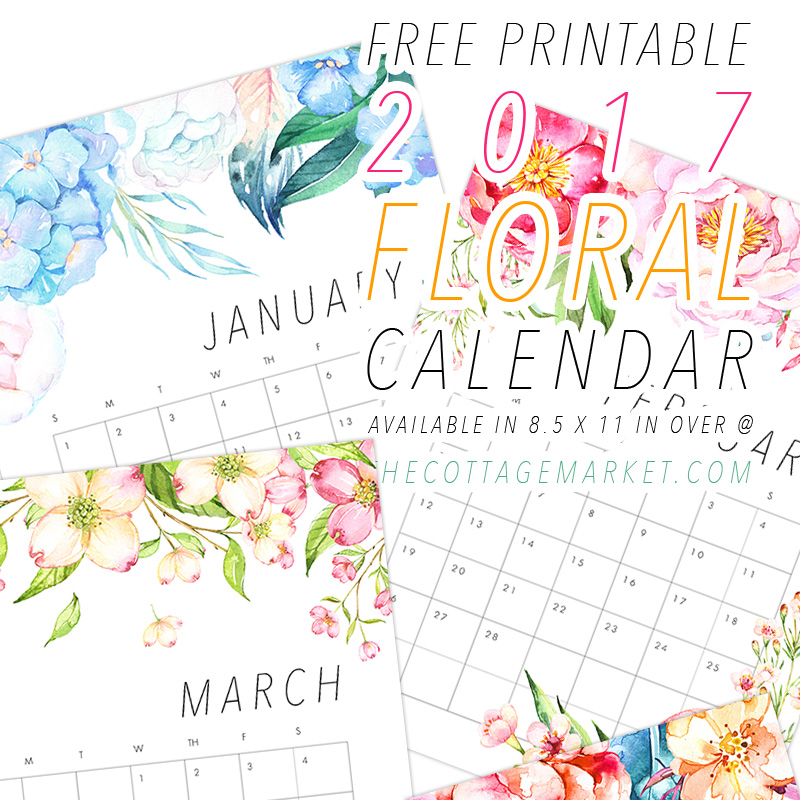 Free Printable  Floral Calendar  The Cottage Market