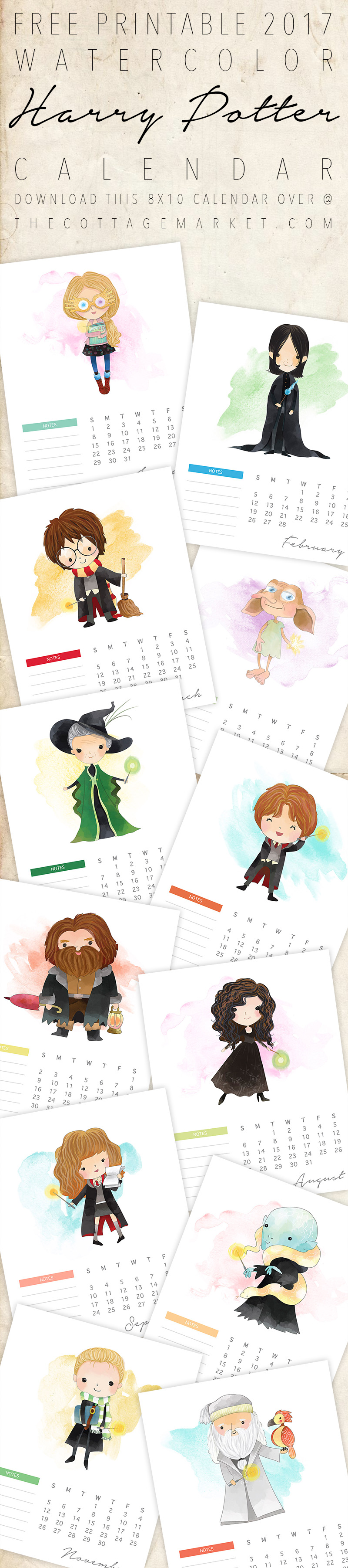 This free printable Harry Potter calendar is has all of your favorite characters as adorable watercolor cartoons