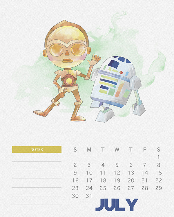 Free Printable 2017 Watercolor Star Wars Calendar - The Cottage Market