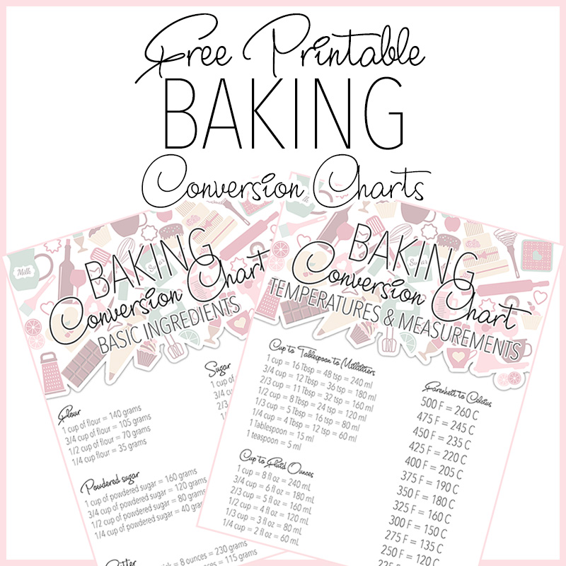 photograph relating to Printable Kitchen Conversion Chart identified as No cost Printable Baking Conversion Charts - The Cottage Industry