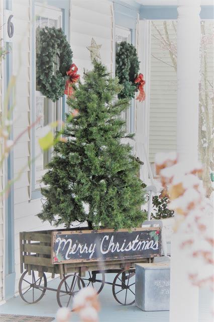 yard sale tree, tree and cart