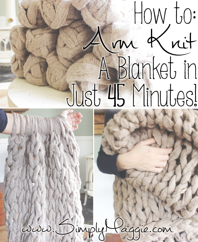 Arm knit this cozy throw in less than an hour with this tutorial from Simply Maggie