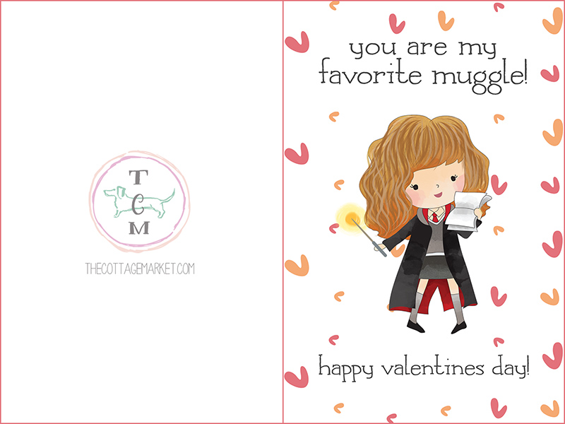 free printable harry potter valentines day cards the cottage market