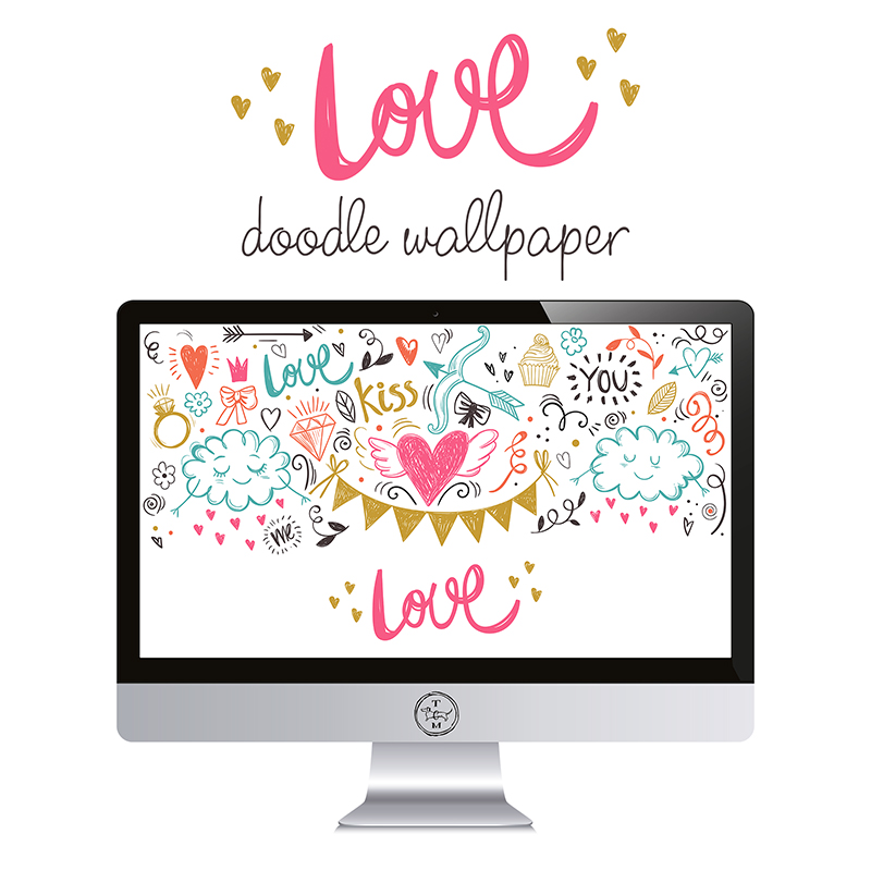 Free Love Doodle Wallpaper - The Cottage Market