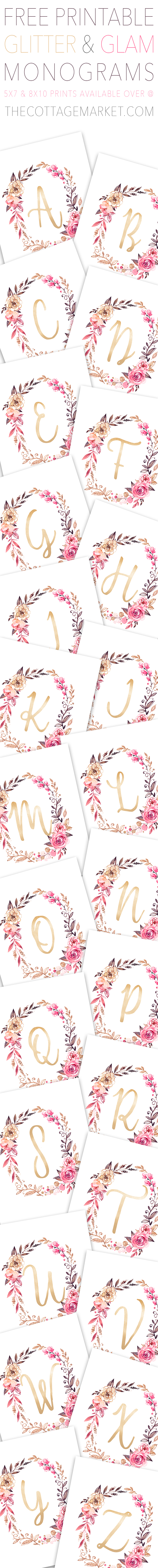 image relating to Free Printable Monogram named Free of charge Glitter and Glam Monogram Printables The Cottage Marketplace