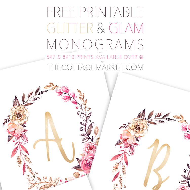 free printable glitter and glam monograms the cottage market