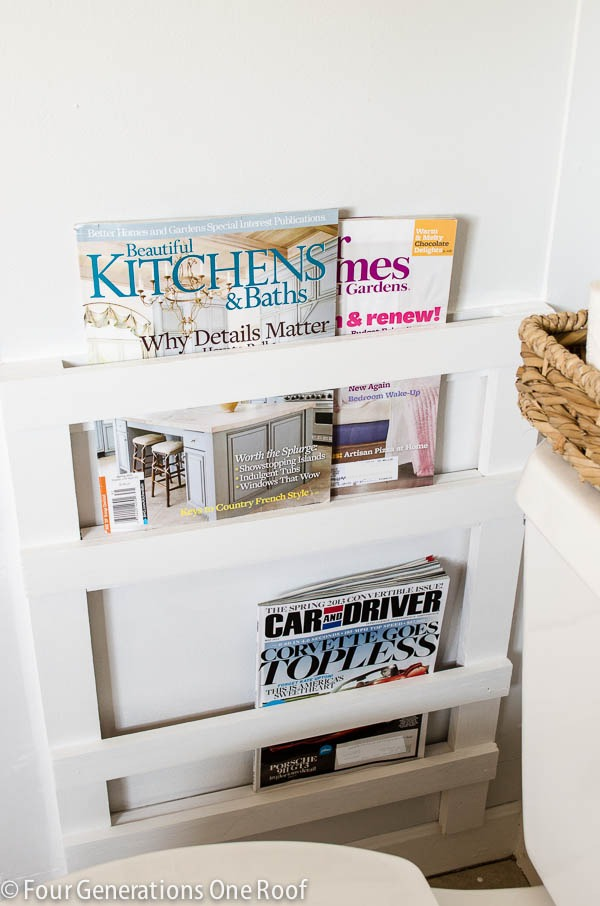 This simple magazine rack is a fun farmhouse project for your living room