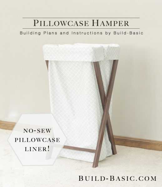 The wooden frame of this pillowcase hamper is a super simple DIY