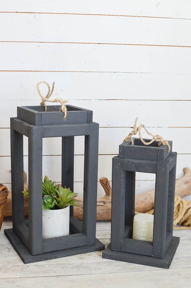 These farmhouse style lantern frames are so adorable and can hold anything from decorative candles to plants