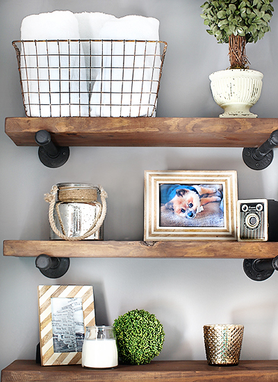 These wooden shelves compliment the steel elements.