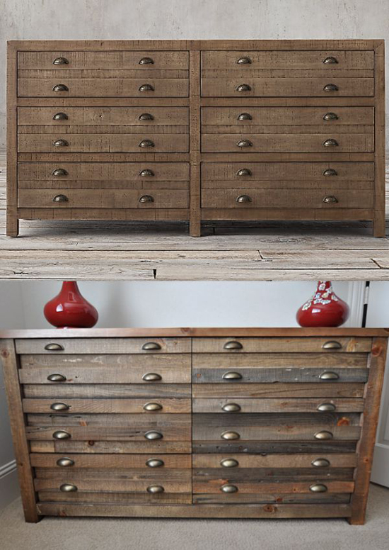 This restored dresser made of wood with industrial handles adds interest to the space.