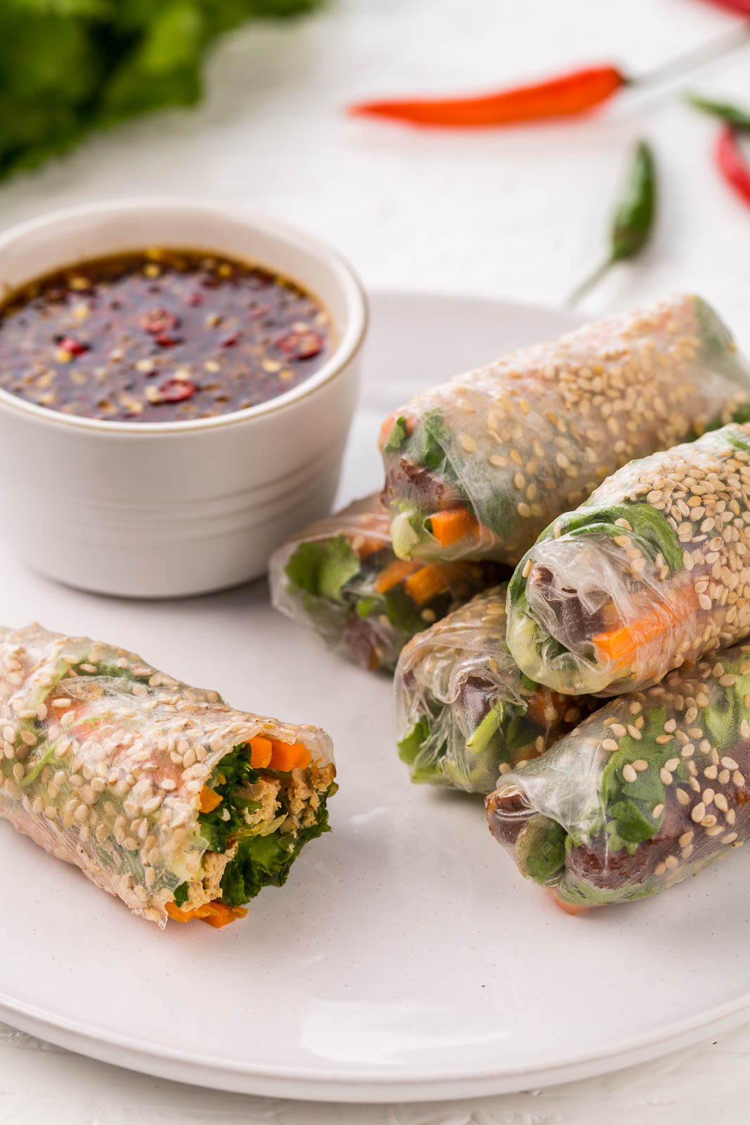 a rainbow of spring rolls for meatless mondays