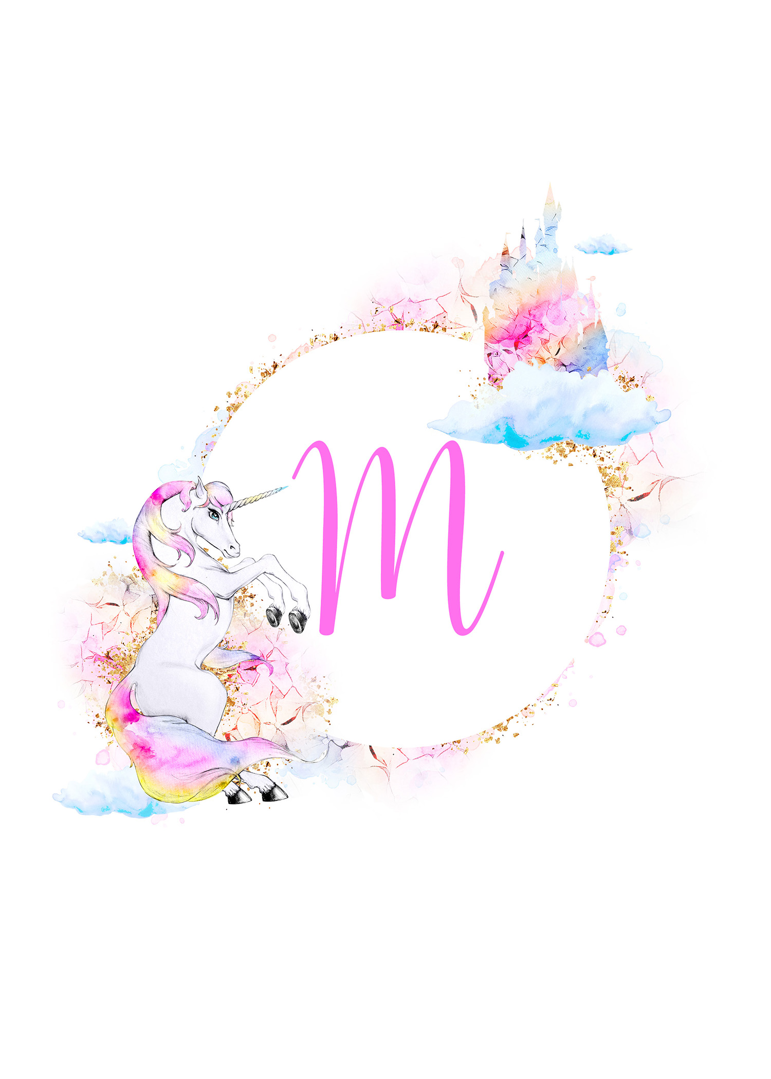 free printable magical unicorn monogram collection