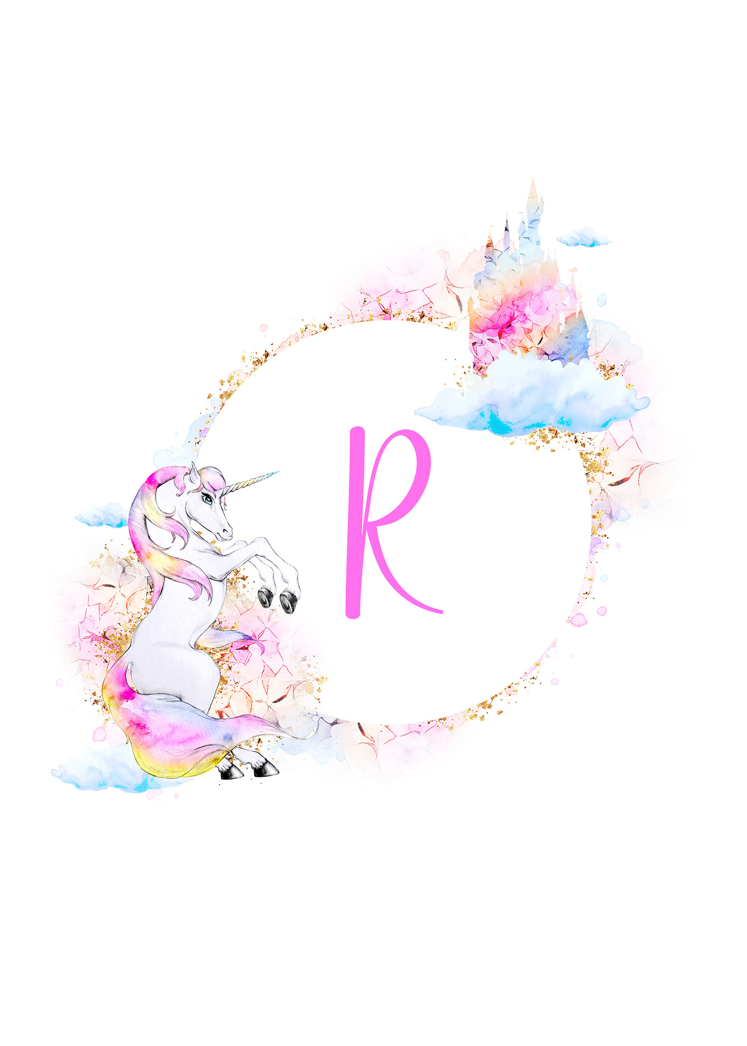 free printable magical unicorn monogram collection the cottage market