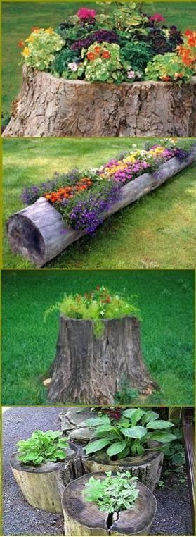 15 fabulous farmhouse style upcycled gardens the cottage for Upcycled tree stumps