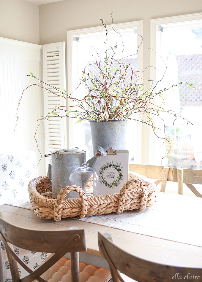 farmhouse decor spring galvanized bucket decorating around modern branches ella claire willow rustic ellaclaireinspired vignettes tall easter buckets metal books
