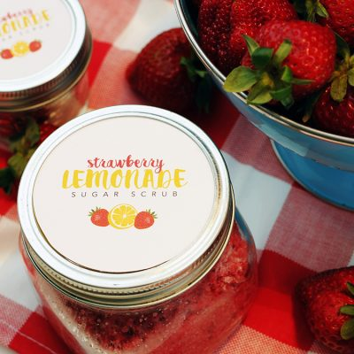 Strawberry Lemonade Sugar Scrub with Free Printable Label