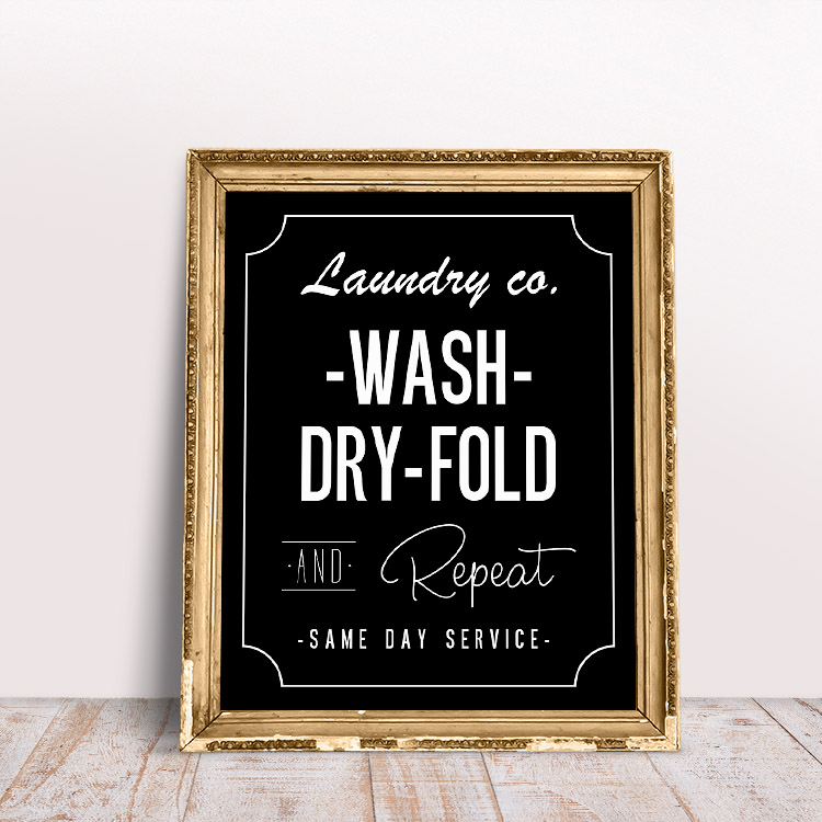 Black and white laundry room printable wall art