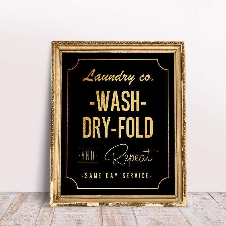 Black and gold laundry room wall art - wash, dry, fold, and repeat