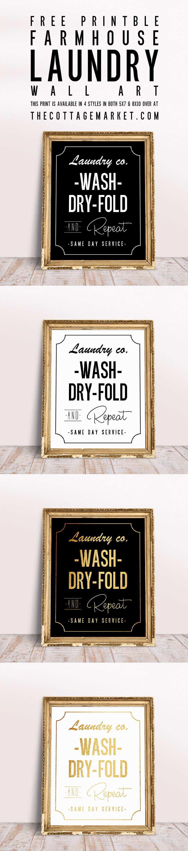 Free Laundry Room Printable Wall Art from The Cottage Market